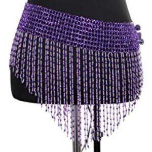 Dresses & Skirts - Purple Elastic Beaded Rave/Belly Dancing Skirt